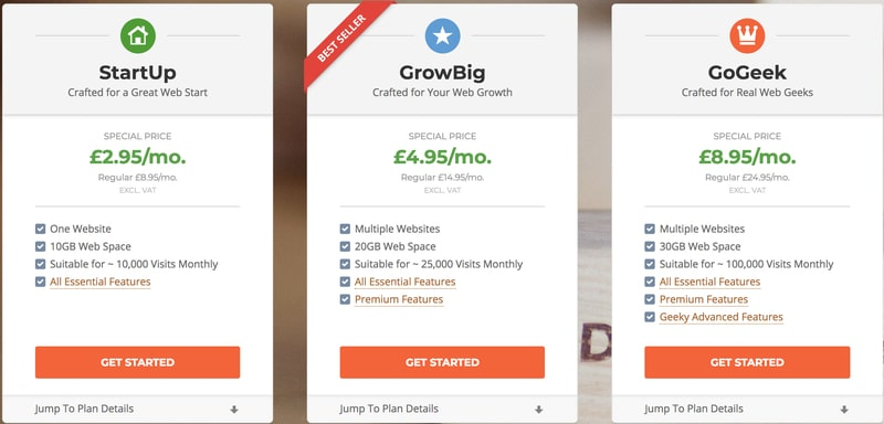 SiteGround Web Hosting Packages