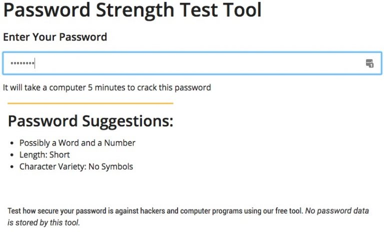 Password Strength Test Tool