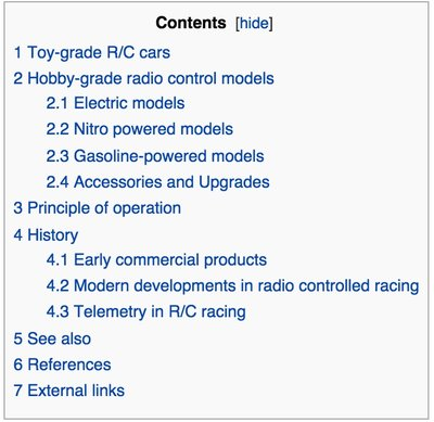 Radio-controlled_car - Contents