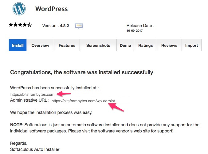SiteGround Hosting WordPress Install Success