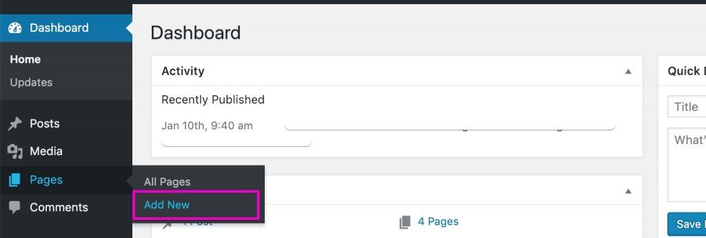 Start A Blog - WordPress Add New Page