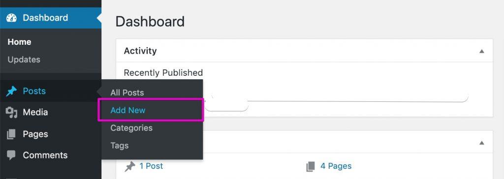 Start A Blog - WordPress Add New Post