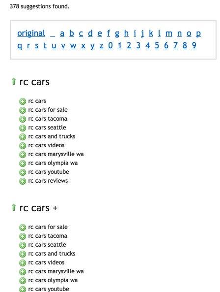 UberSuggest - RC Cars