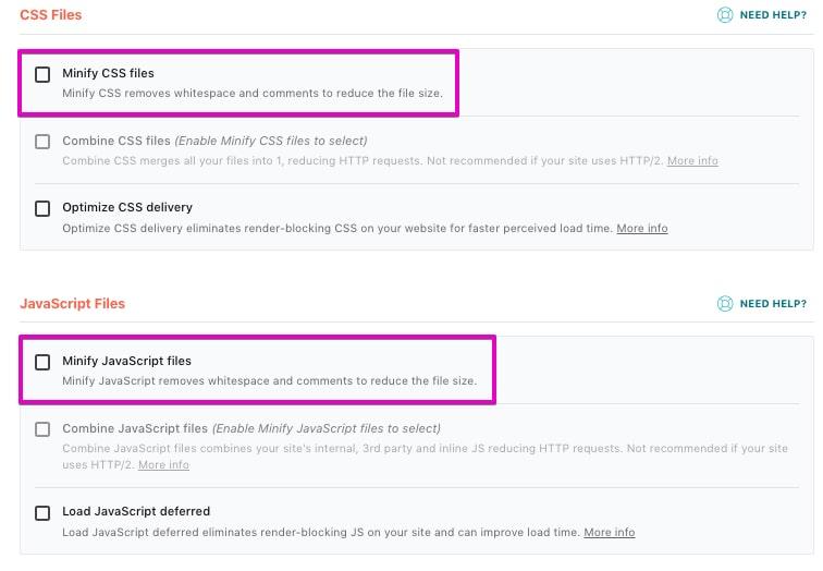 WP-Rocket Minify CSS JavaScript