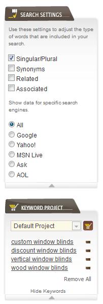 WordPot - Search Settings