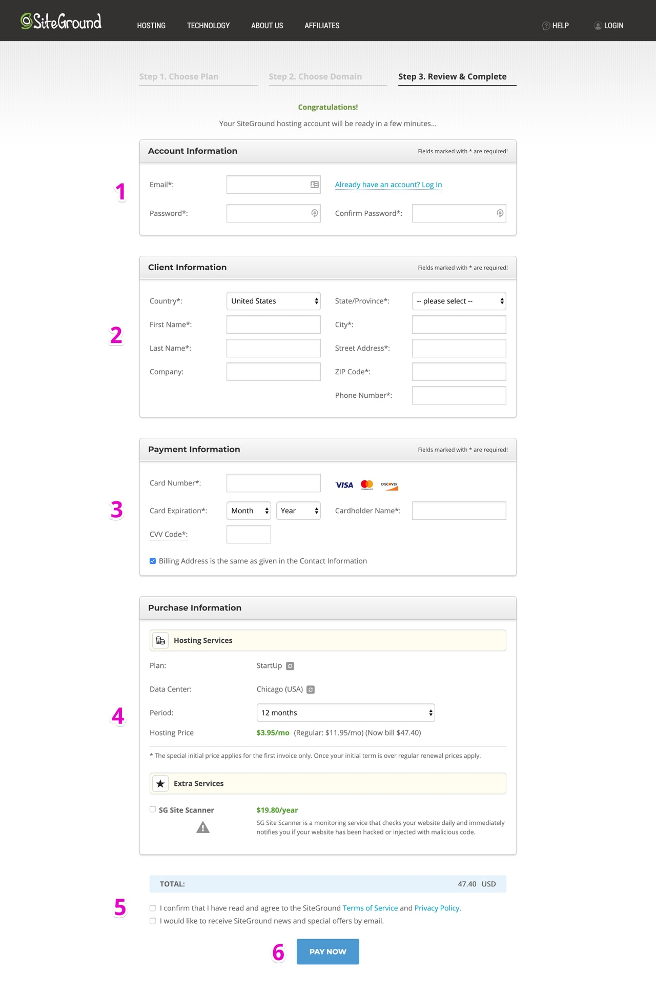 Siteground Checkout Page