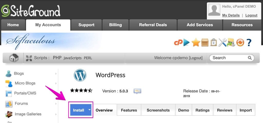 Siteground Hosting WordPress Install