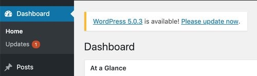 WordPress Update Dashboard Message