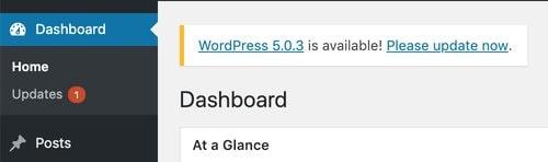 WordPress Update Dashboard Message