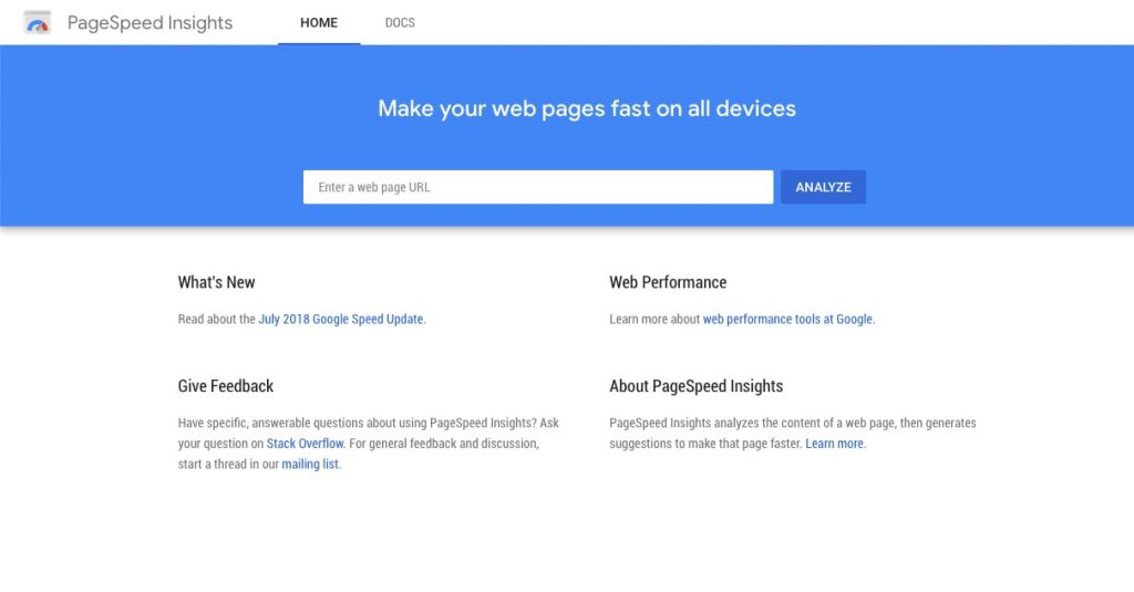 google pagespeed insights testing tool