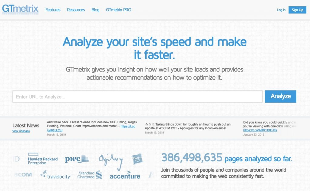 gtmetrix website speed test tool