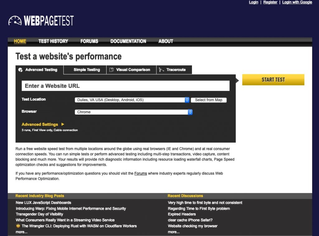 webpagetest website speed test tool