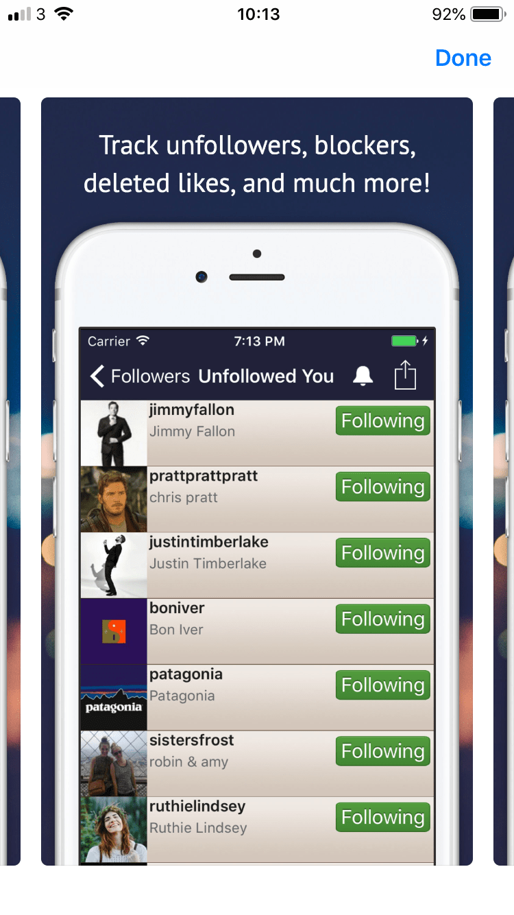 Followers Track Unfollows