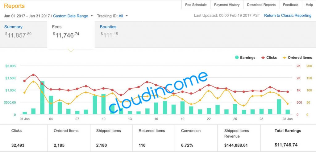 CloudIncome Amazon Associates Income Report January 2017