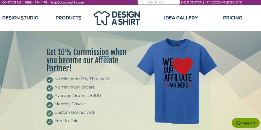 Design a tshirt affiliate program