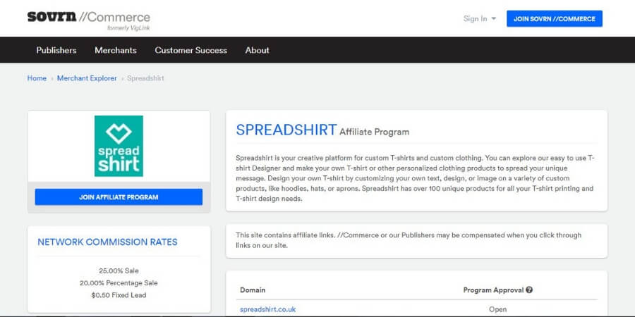 Spreadshirt affiliate program